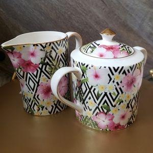 Sugar and Creamer Porcelain Set Tropical